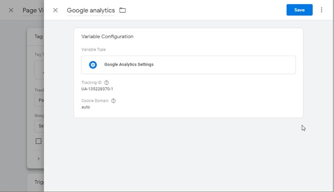 A screenshot of a Google Tag Manager variable for Google Analytics.