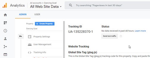 A screenshot of where to find your Google Analytics Tracking ID.