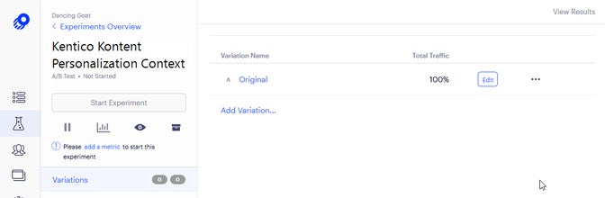 A screenshot of variations in Optimizly with only the original remaining.