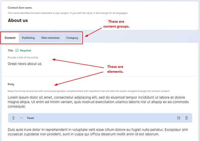 Content groups and elements in a content item.