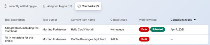 Your tasks in its section with the same name.