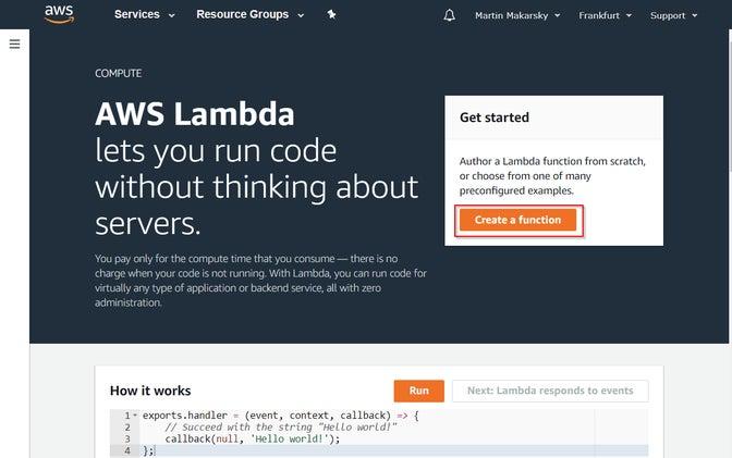 Creating a new AWS Lambda function