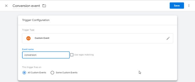 A screenshot of the configuration of a Google Tag Manager trigger.