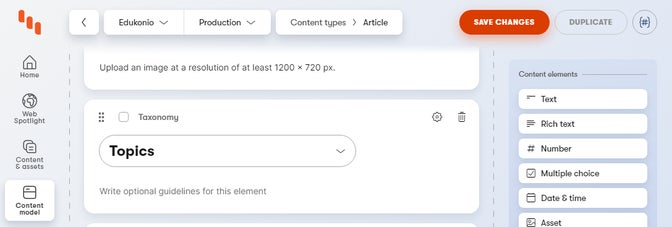 Taxonomy element in content type