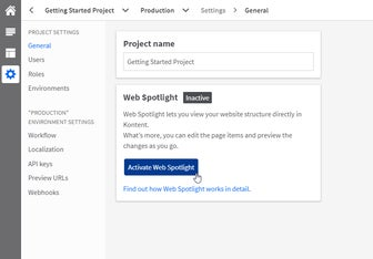 Web Spotlight activation in the project settings