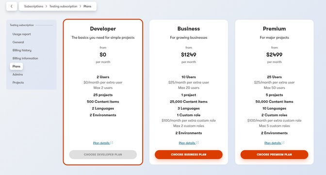 Overview of subscription plans in the Kentico Kontent app.