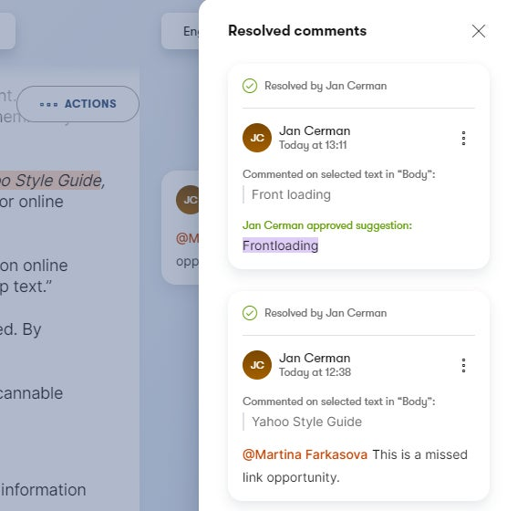 Resolved comments and suggestions in a content item