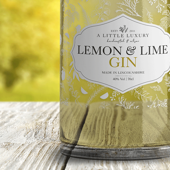 A Little Luxury lemon and lime gin label mockup