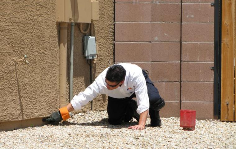 a tech doing an exterior inspection