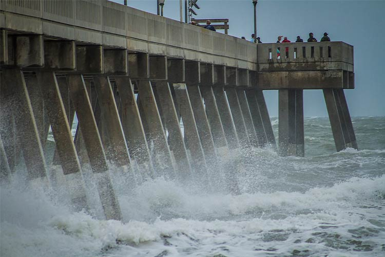 Heavy surf at Wrightsville Beach, NC, USA, as a result from Hurricane Irma's storm surge.