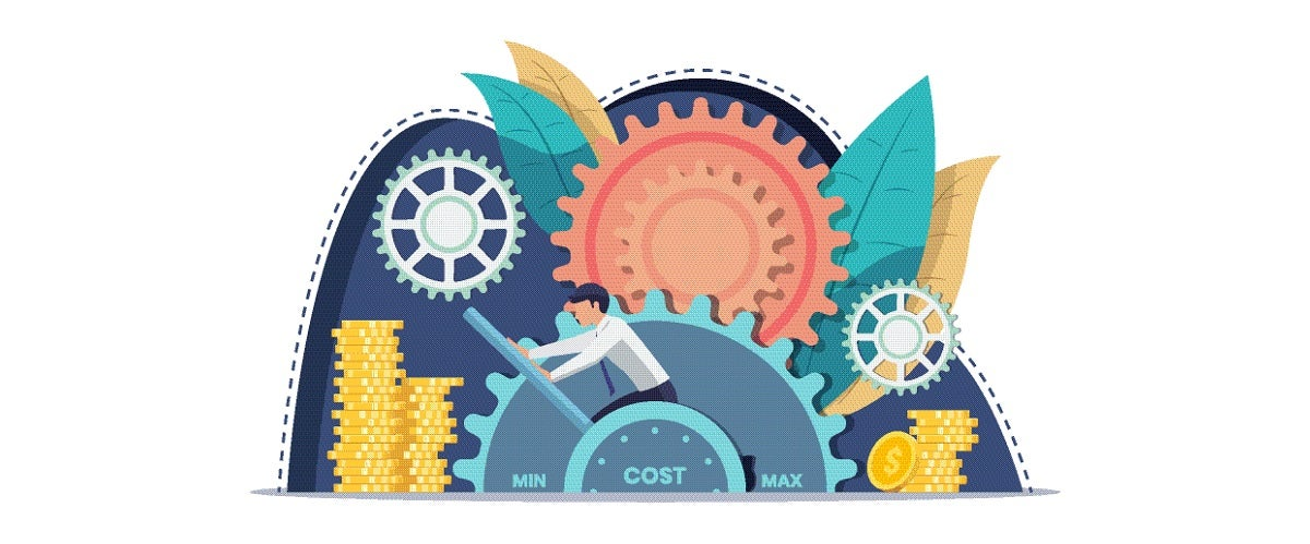 A graphic of a businessman moving a lever on a cost-minimizing cog, representing manufacturers' cost-minimizing myth that minimizing unit cost is the key to maximizing ROI.