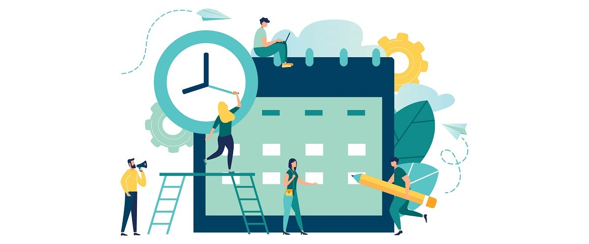 Illustration showing a large clock and people writing on a schedule is meant to represent time buffers protecting control points and their schedules.