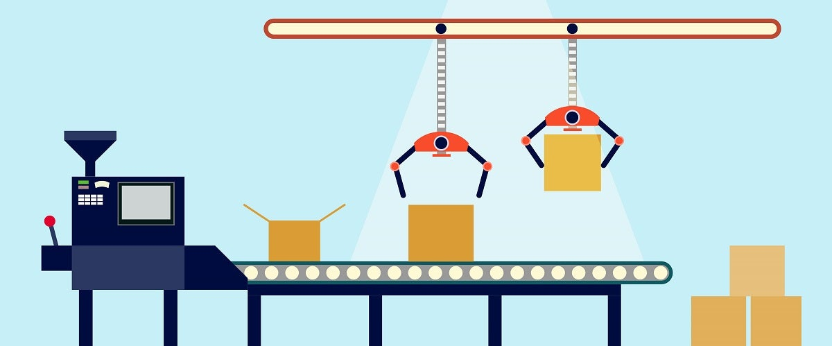 An illustration of a conveyor belt, which is used in the article as a metaphor for the growing complexities of the manufacturing industry.