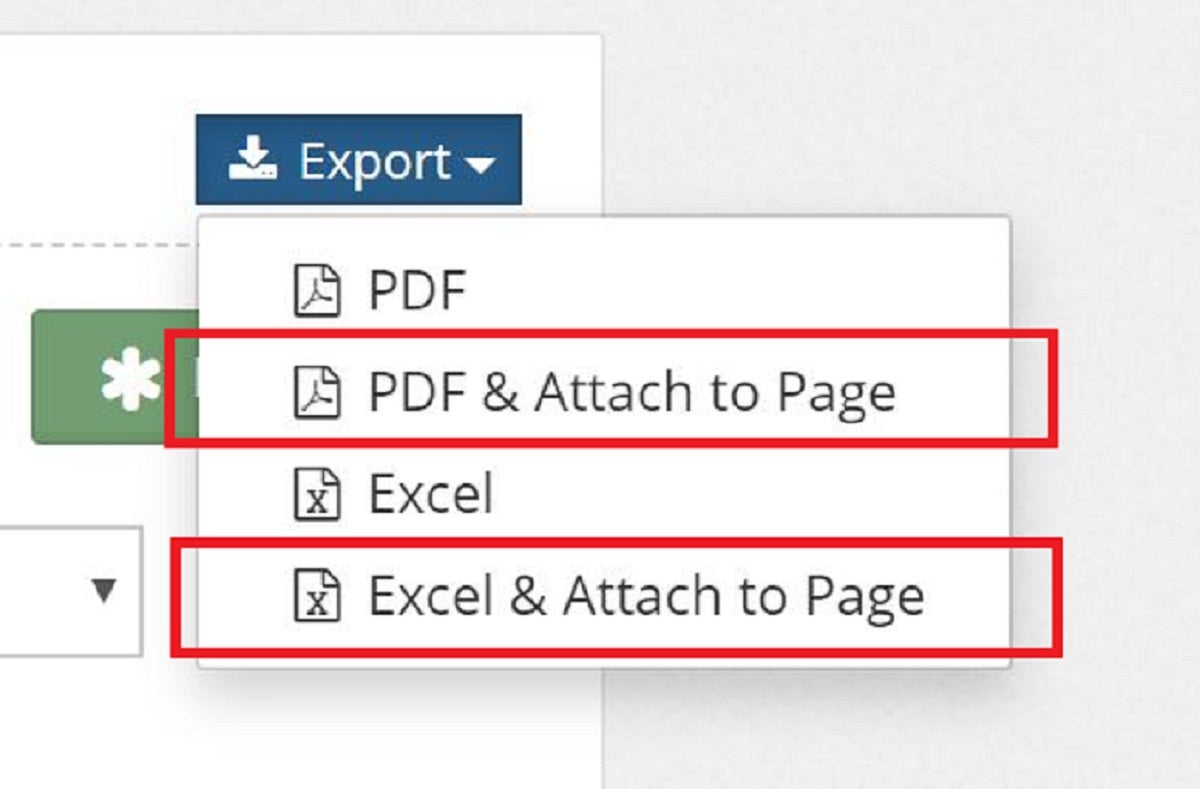 When exporting page attachments, you can now choose to automatically attach the exported file to the page.