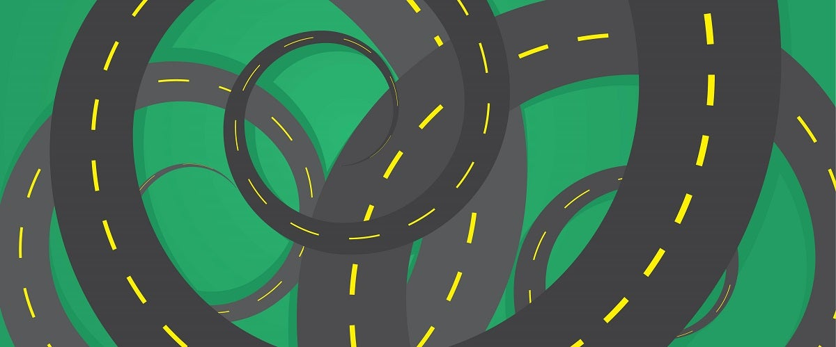 Multiple spiraling roads overlap in an illustrated image meant to represent the manufacturing rule spiral.