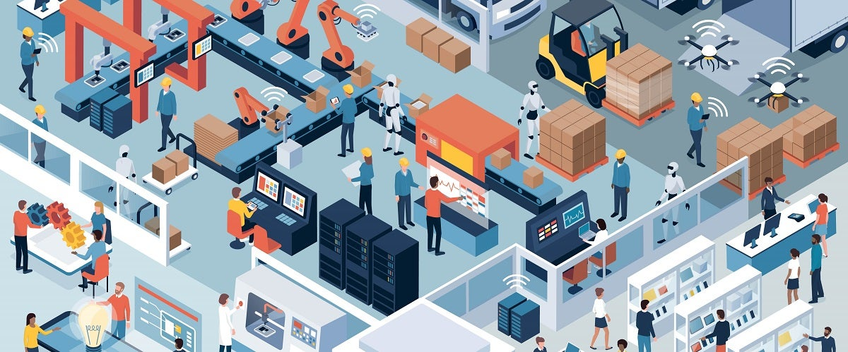 Graphic of a busy manufacturing production floor, distribution, technology, and people all working together - a metaphor for flow in manufacturing.
