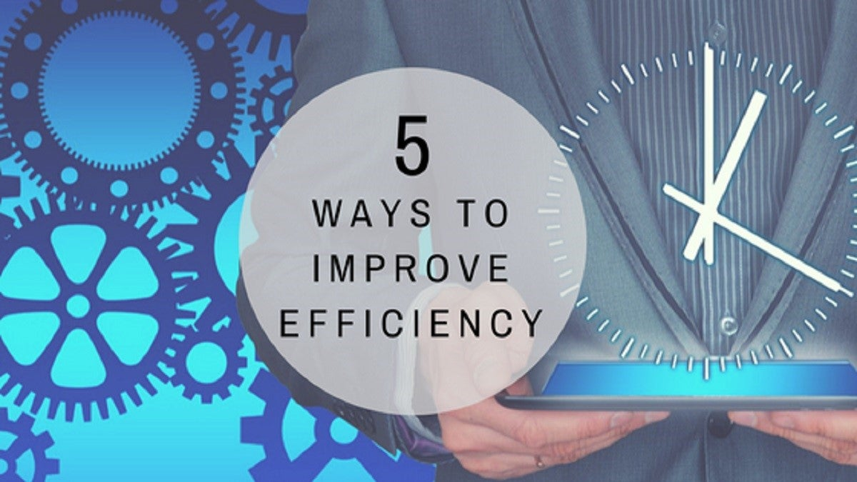 "Graphics showing cogs in a machine and a clock, with the words ""5 Ways to Improve Efficiency"""