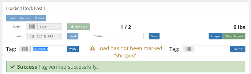 When tags are scanned into a loading station but the load has not been marked shipped, the page will display a warning.
