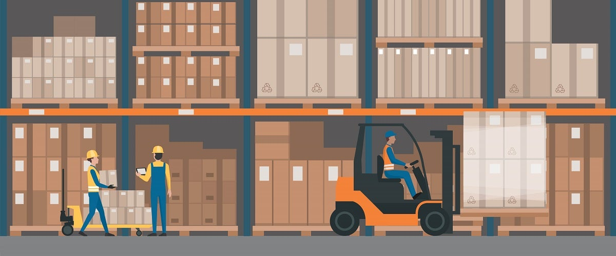 Illustration of a warehouse interior with goods, pallet trucks and industrial workers, meant to represent decoupling points.
