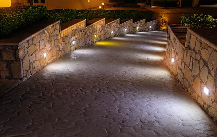 a lit pathway in lewisville texas