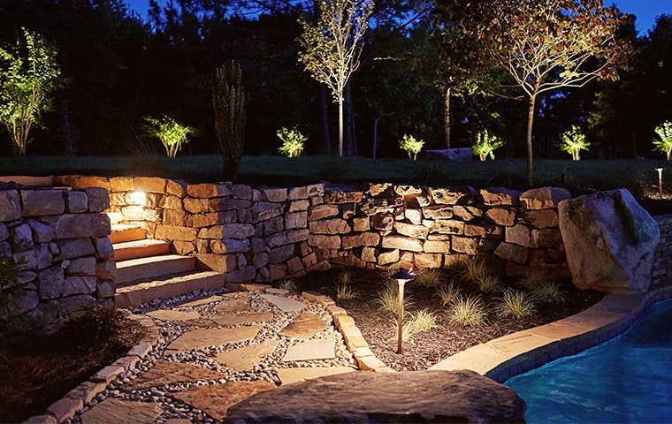 a lit walkway in lewisville texas