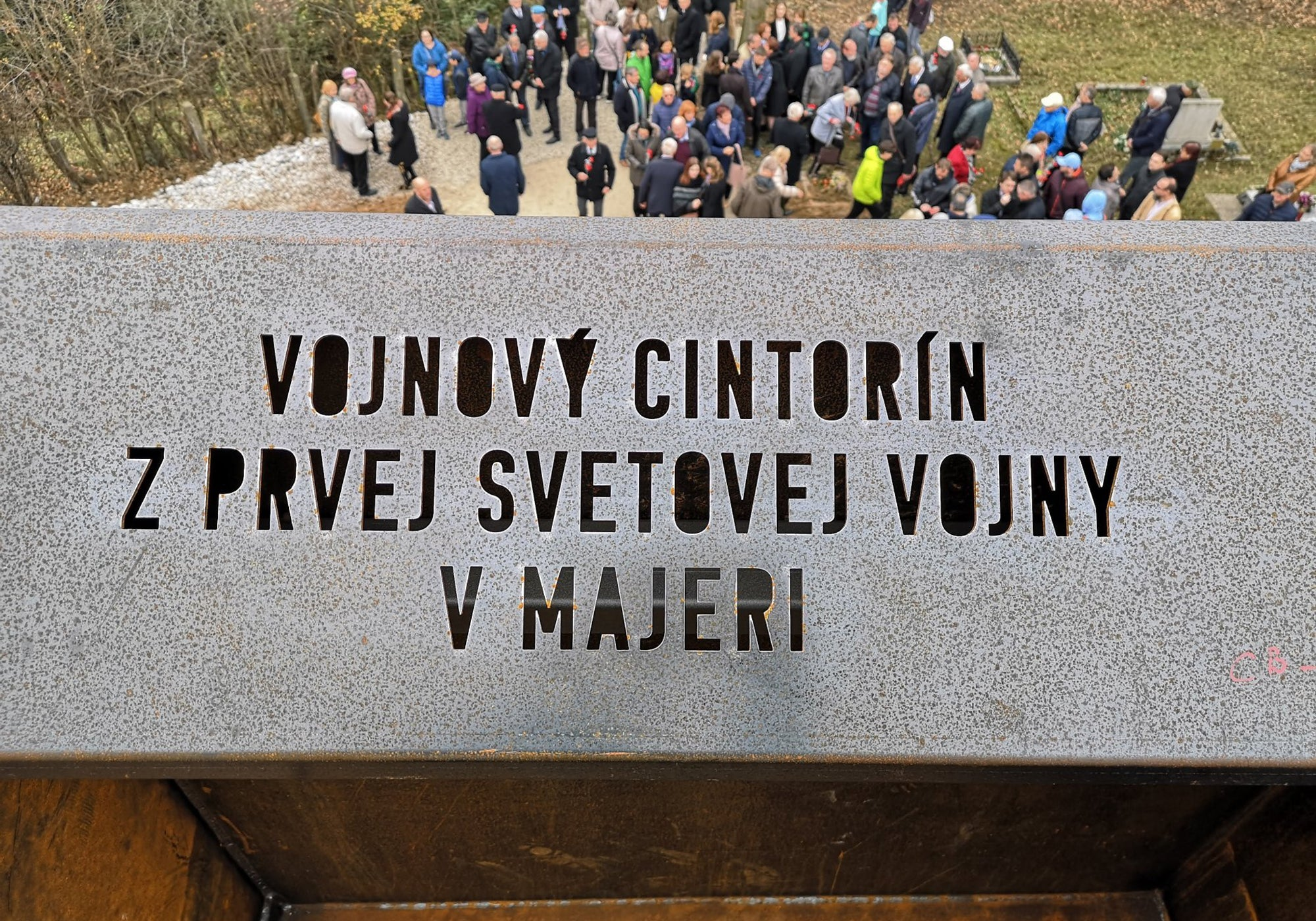 Custom version of Komu typeface for plotter cutting, used for World War I. cemetery in Banska Bystrica, Slovakia / Photo: Štefan Moravčík, www.archinfo.sk