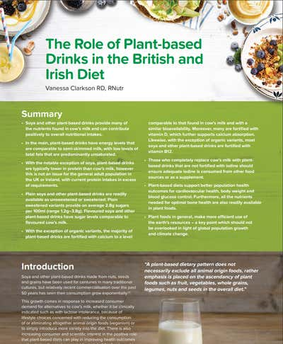 The role of plant-based drinks in the British and Irish diet.