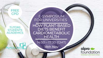 18 novembre Alpro Foundation e-symposium : « How plant-based diets benefit cardiometabolic health ».