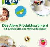 Das Alpro Produktsortiment mit Zutatenlisten und Nährwertangaben