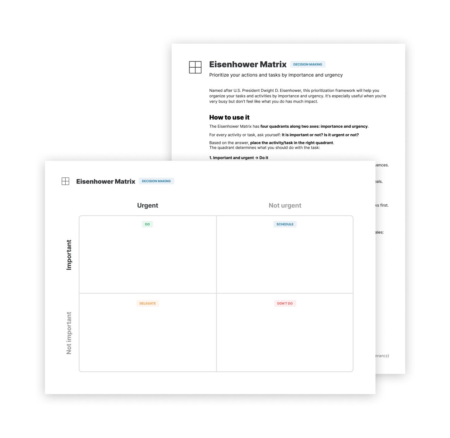 Eisenhower matrix worksheets