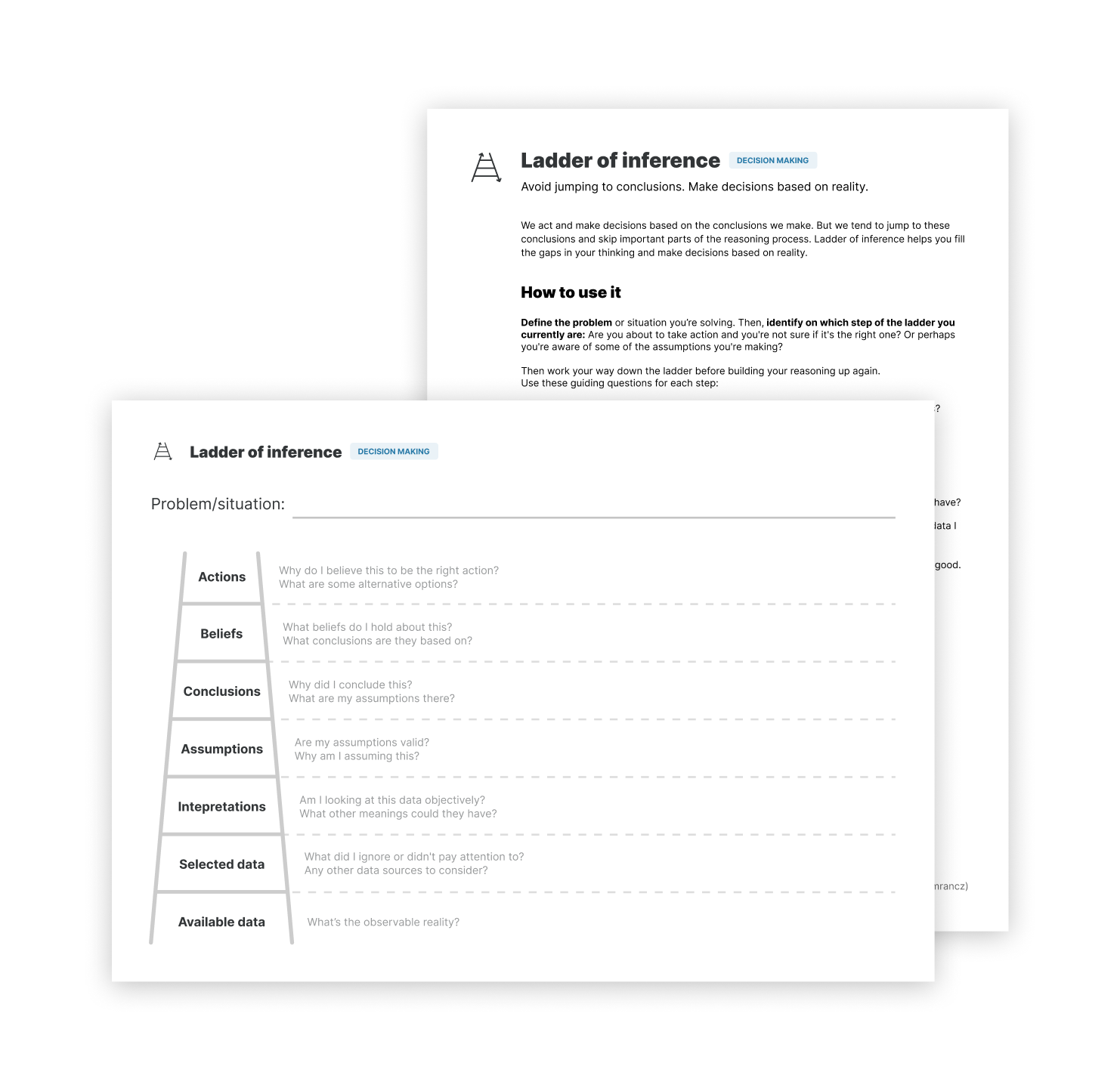Ladder of inference worksheet and a guide
