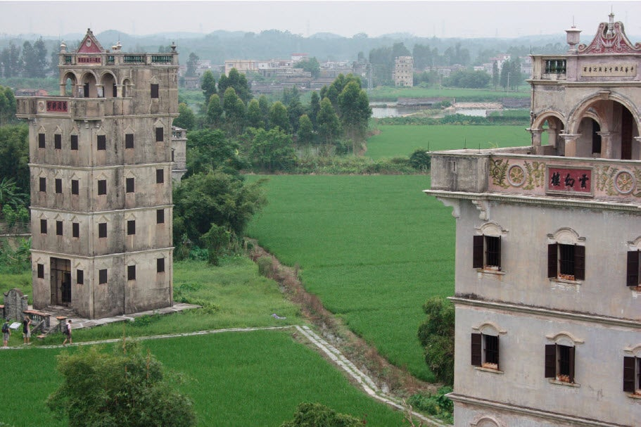 Watchtower houses in Kaiping of Guangdong province