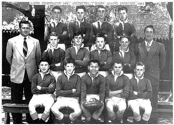 King Fong and his rugby league team mates from Glebe Central Junior High School (1953)