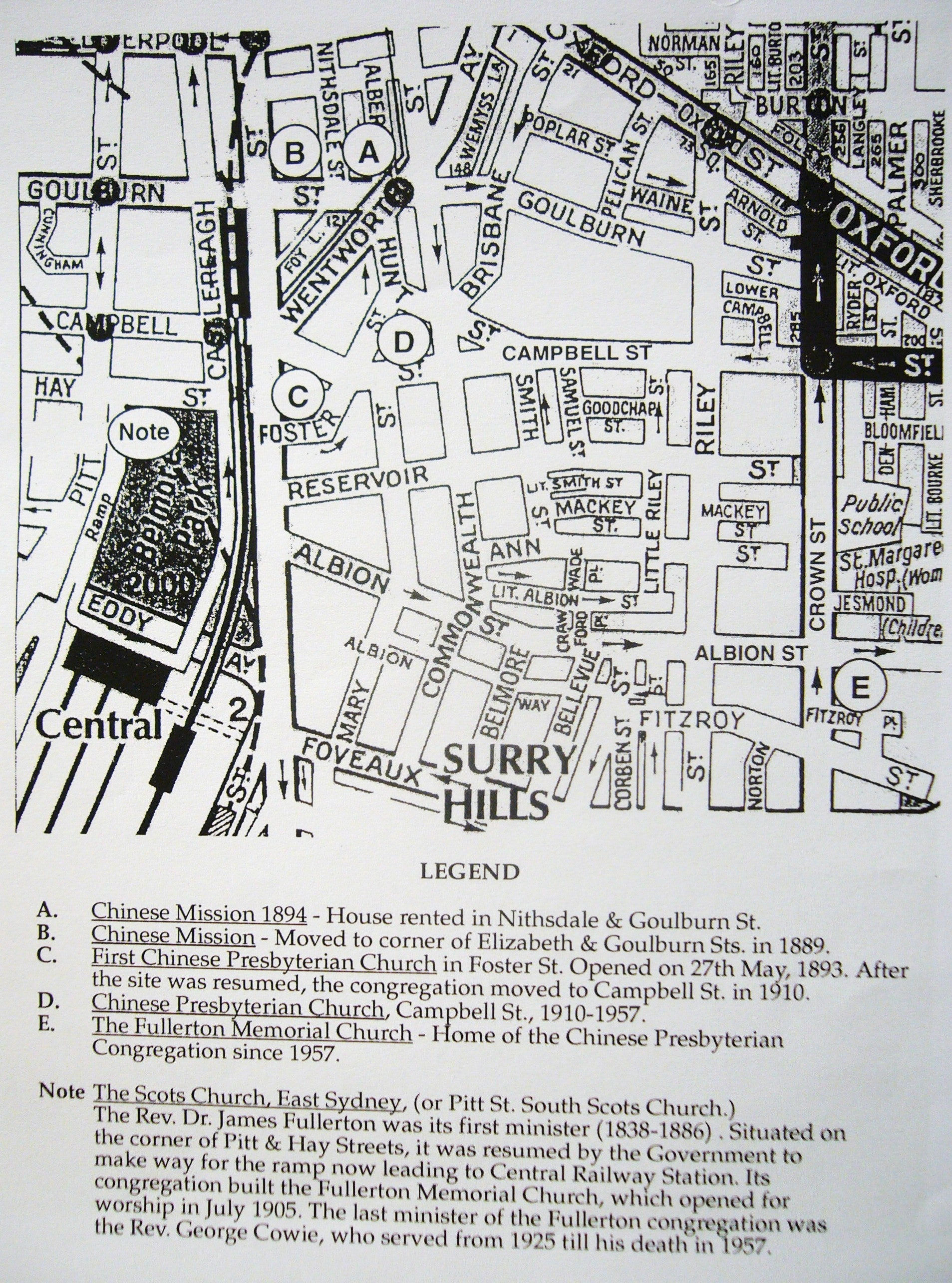 Locations of the Chinese Presbyterian Church (from 1884 to today) (courtesy of Howard Wilson)