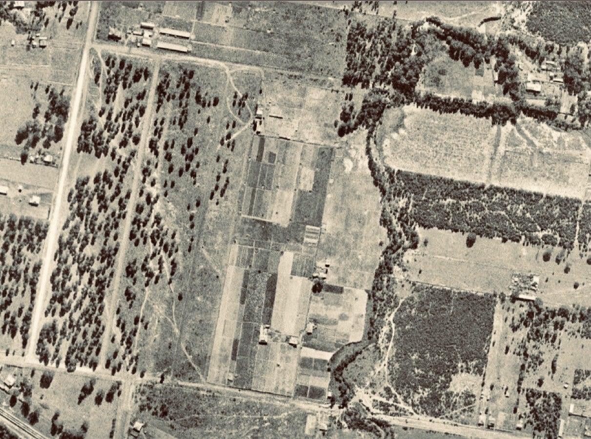 The Guildford market garden 1943. The garden occupies the rectangular block at the centre of the photograph. Duck Creek is seen to the right of the image (NSW Spatial Services)