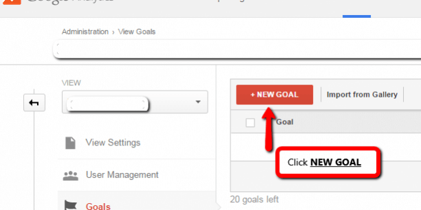 new eCommerce sales goal in Google Analytics