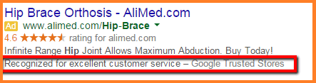 Example of Google Trusted Store Review Extension