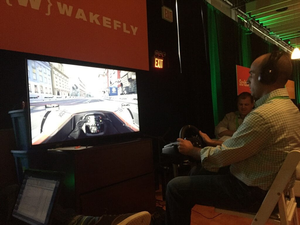 Conductor's Seth Besmertnik racing at the wakefly booth