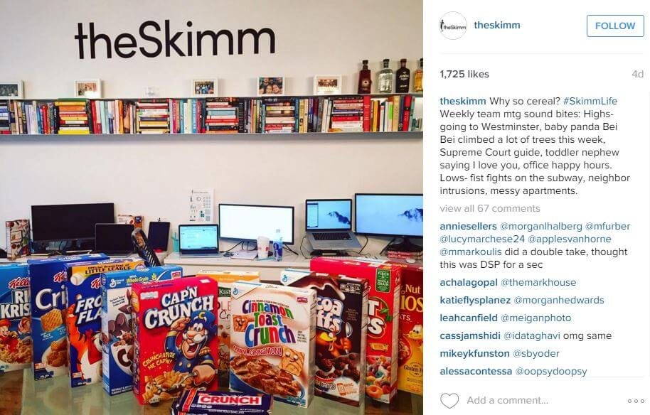 the skimm company culture on instagram