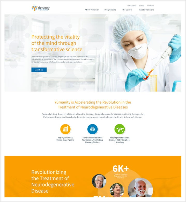 Yumanity Home Page Screen