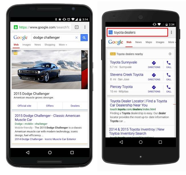 car dealership website on a mobile device