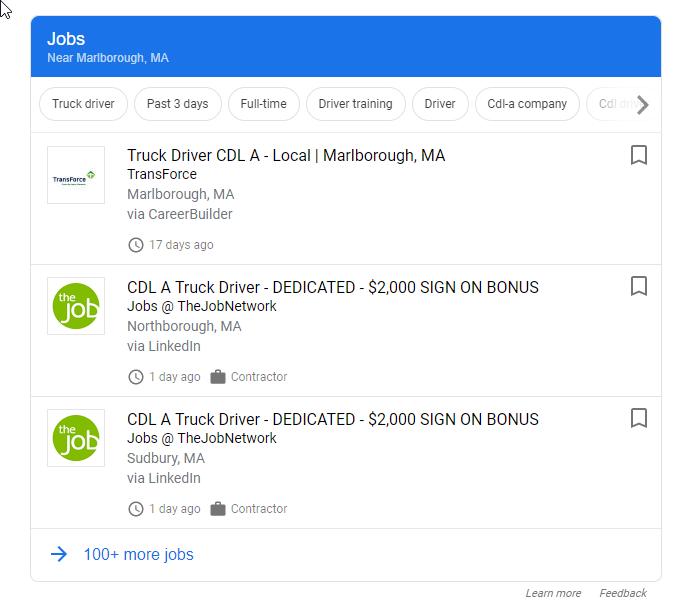 Google Search truck driver jobs
