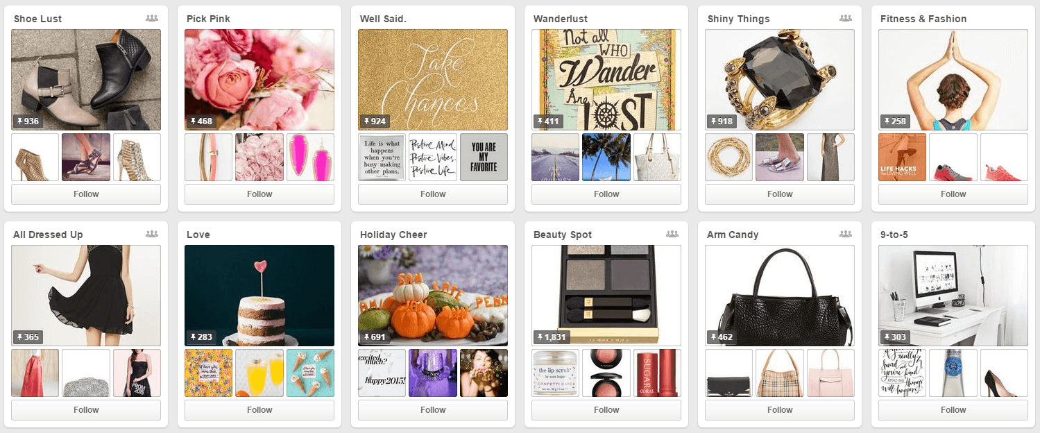 Pinterest for business example