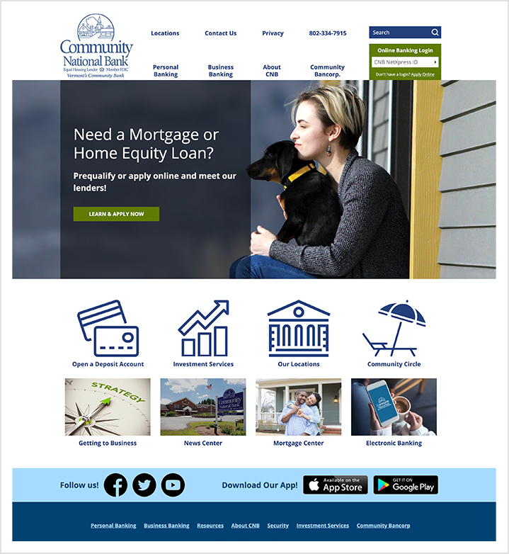 Community National Bank home page