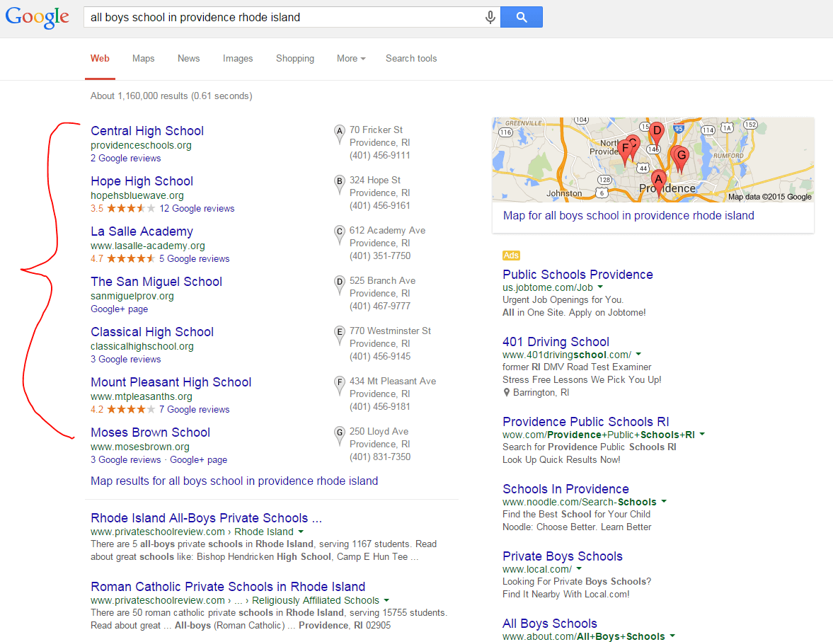 example of education search results