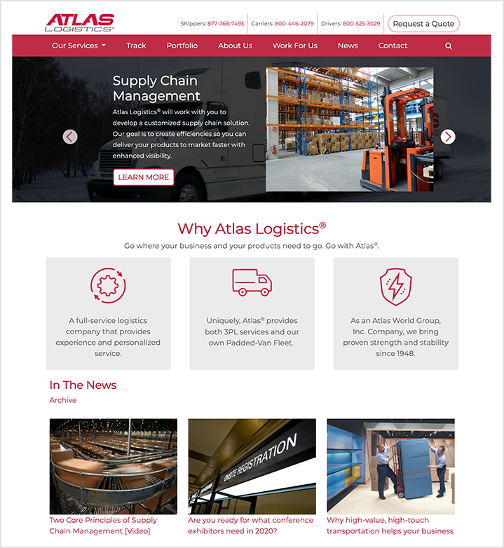 atlas logistics homepage
