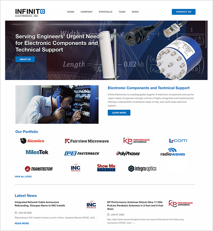 infinite electronics home page