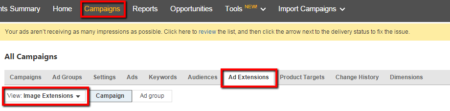 Set Up Bing Image Ad Extensions Step One