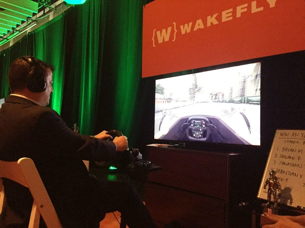 Conductor's Seth Dotterer Racing at the Wakefly Booth