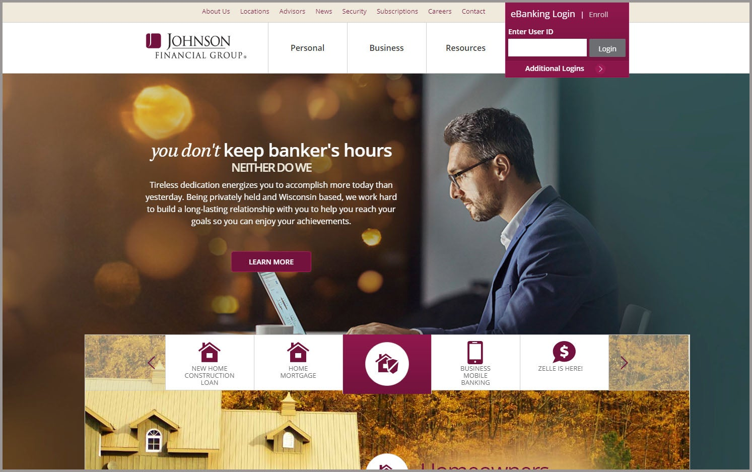 Johnson Financial Home Page